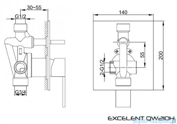 Kohlman Excelent podtynkowa bateria wannowo-prysznicowa z dwoma wyjściami QW210H