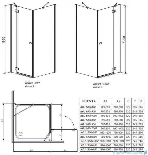 Radaway Kabina prysznicowa Fuenta KDJ 90x100 prawa szkło grafitowe 381052-05R