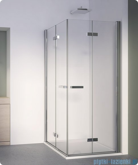 SanSwiss Swing Line F SLF2 Wejście narożne z drzwiami 80cm profil srebrny Prawe SLF2D08000107