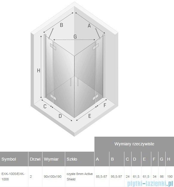New Trendy Modena kabina prysznicowa 90x100 przejrzyste EXK-1005/EXK-1008