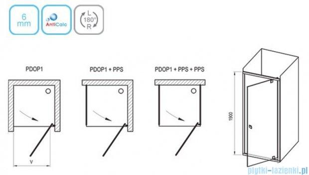 Ravak Drzwi prysznicowe obrotowe Pivot PDOP1-80 białe + chrom transparent 03G40100Z1