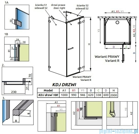 Radaway Euphoria KDJ+S Drzwi prysznicowe 100 prawe szkło przejrzyste 383022-01R