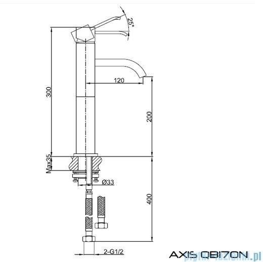 Kohlman Axis bateria umywalkowa-wersja wydłużona QB170N
