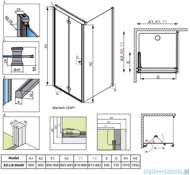 Radaway Eos KDJ-B kabina prysznicowa 90x90 lewa szkło przejrzyste + brodzik delos C + syfon 37403-01-01NL