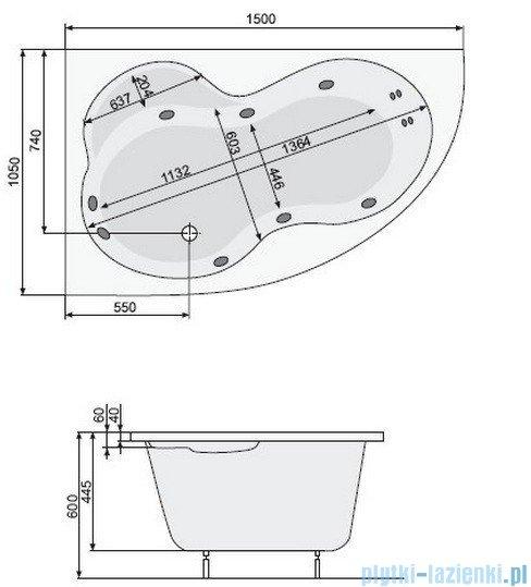 Poolspa Wanna asymetryczna MISTRAL 150x105 prawa + hydromasaż Smart 1 PHA6C10ST1C0000