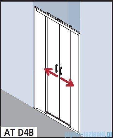 Kermi Atea Drzwi przesuwne bez progu, 4-częściowe, szkło przezroczyste, profile białe 180x185 ATD4B180182AK