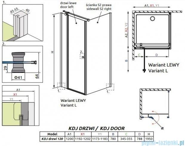 Radaway Eos II KDJ Drzwi prysznicowe 120 lewe szkło przejrzyste 3799424-01L