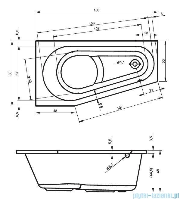 Riho Delta wanna asymetryczna prawa 150x80 z hydromasażem LUX Hydro 4+4+2/Aero11 BB80L8