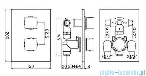 Paffoni Bateria natryskowa podtynkowa termostatyczna Level Termostaty chrom LEQ515CR