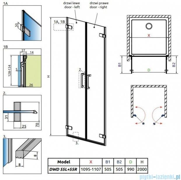 Radaway Arta Dwd drzwi wnękowe 110cm szkło przejrzyste 386033-03-01L/386033-03-01R
