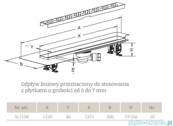 Radaway Flowers Odpływ liniowy 115x8cm 5L115B,5R115F