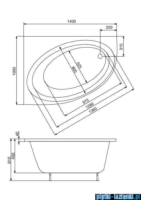 Roca Orbita wanna 140x100cm lewa z hydromasażem Effects Titanium A24T192000