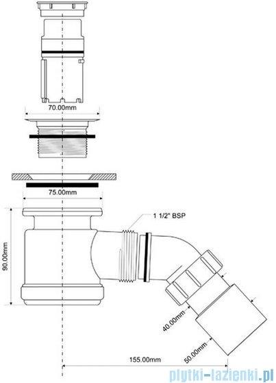 McAlpine Syfon brodzikowy 50'' pokrywa kolorze satyna HC26S-SCB