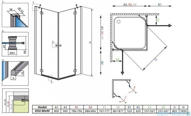Radaway Torrenta Kdd Kabina prysznicowa 80x90 szkło grafitowe 32777-01-05NR