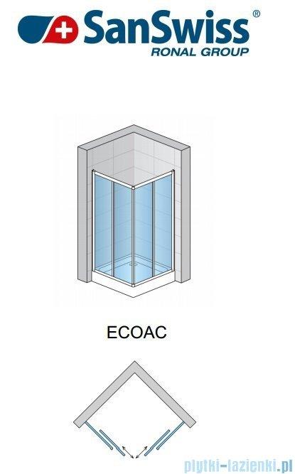 SanSwiss Eco-Line Wejście narożne Eco 80cm profil biały szkło przejrzyste Lewe ECOG08000407