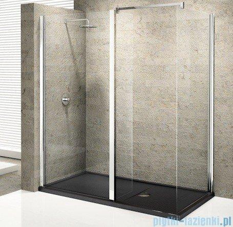 Novellini Elysium Kuadra h35 Ścianka boczna 75 szkło przejrzyste profil chrom KUADH75-1K