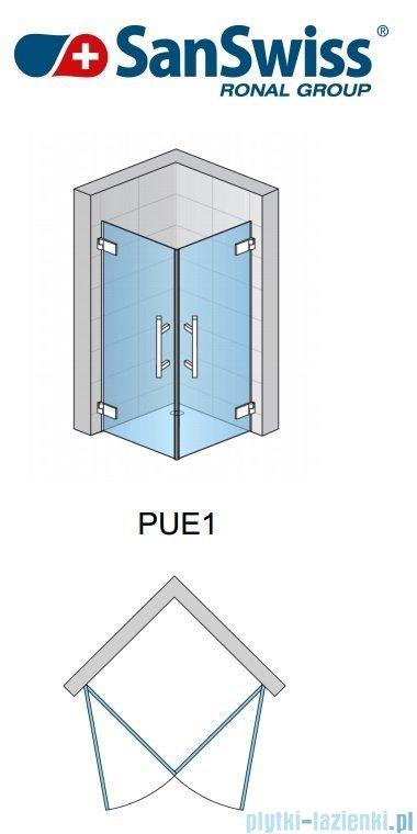 SanSwiss Pur PUE1 Wejście narożne 1-częściowe 40-100cm profil chrom szkło Efekt lustrzany Lewe PUE1GSM11053