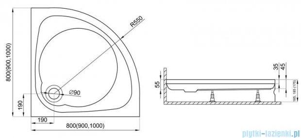 Polimat Nowy Styl 2 brodzik półokrągły 90x90x5 00619