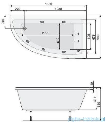 Poolspa Wanna asymetryczna LAURA 150x90 prawa + hydromasaż Smart 1 PHANY10ST1C0000
