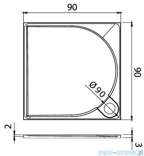 New Trendy Fluo brodzik kwadratowy z konglomeratu 90x90x3 cm B-0352