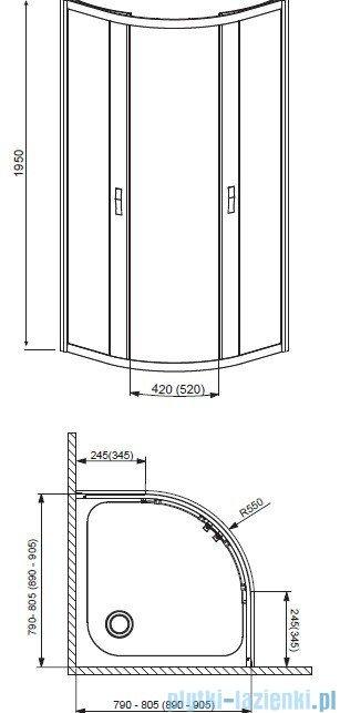 Radaway Afrodyta Kabina półokrągła 90x90 szkło przejrzyste + brodzik Delos A 90+ syfon 30102-01-01
