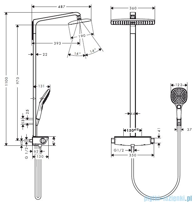 Hansgrohe Raindance Komplet prysznicowy Select E 360 DN15 biały/chrom 27112400