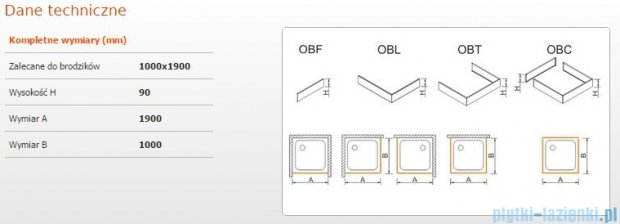 Sanplast Obudowa brodzika OBL 100x190x9 cm 625-400-1720-01-000