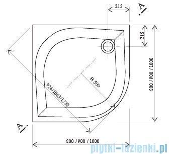 Ravak Brodzik półokrągły Galaxy Elipso-80 Pan 80x80 A224401410