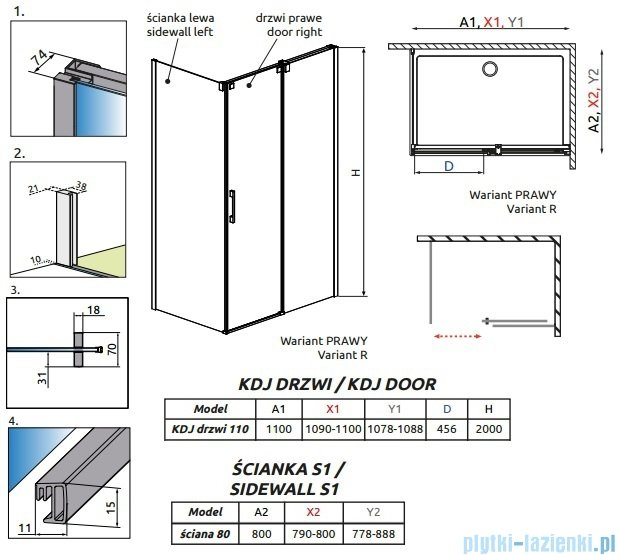 Radaway Espera Kdj kabina prysznicowa 110x80 prawa szkło przejrzyste 380131-01R/380148-01L