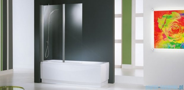 Novellini Parawan Aurora2 120x150cm profil biały szkło aqua AURORAN2-2A