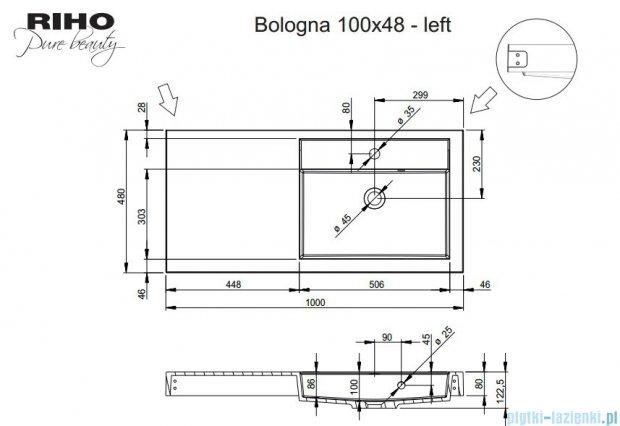 Riho Umywalka z marmuru syntetycznego z lewym blatem 100x48 Bologna F7BO1100481111
