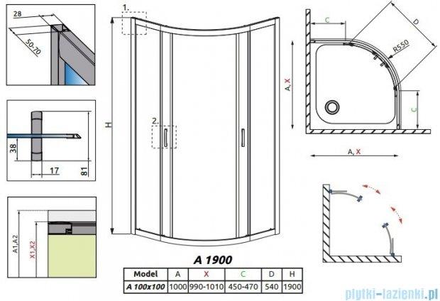 Radaway Premium Plus A Kabina półokrągła 100x100x190cm szkło grafitowe 30423-01-05N