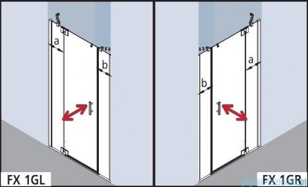 Kermi Filia Xp Drzwi wahadłowe 1-skrzydłowe z polami stałymi, lewe, przezroczyste KermiClean/srebrne 160x200cm FX1GL16020VPK