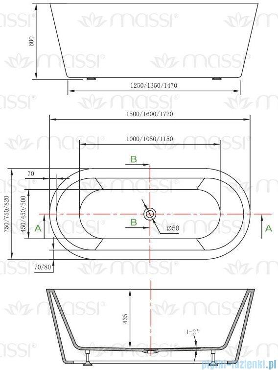 Massi Thermo 160 wanna wolnostojąca 160x75 cm biała MSWA812160
