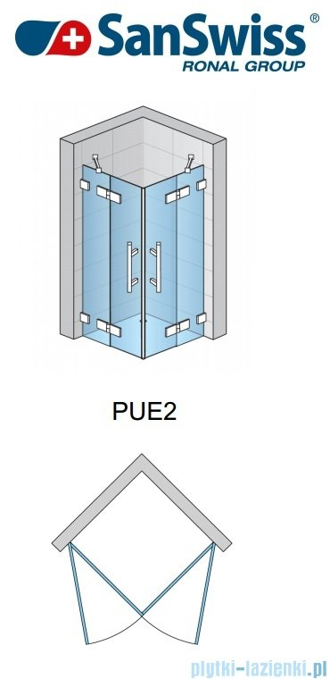 SanSwiss Pur PUE2 Wejście narożne 2-częściowe 75-120cm profil chrom szkło przejrzyste Prawe PUE2DSM21007