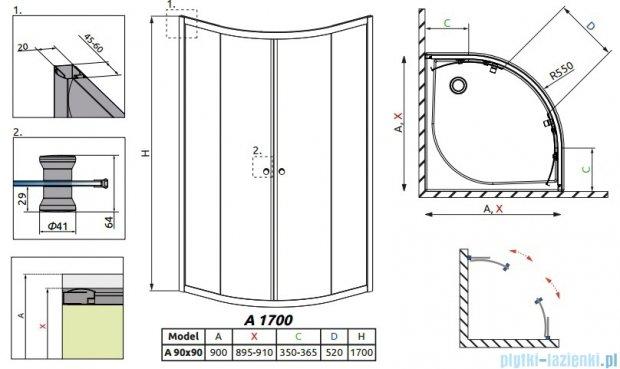 Radaway Classic A Kabina prysznicowa półokrągła z drzwiami przesuwnymi 90x90x170 szkło fabric profile białe 30001-04-06