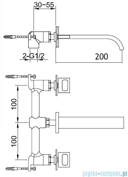 Kohlman Nexen-S 3-częściowa podtynkowa bateria umywalkowa SQW193U