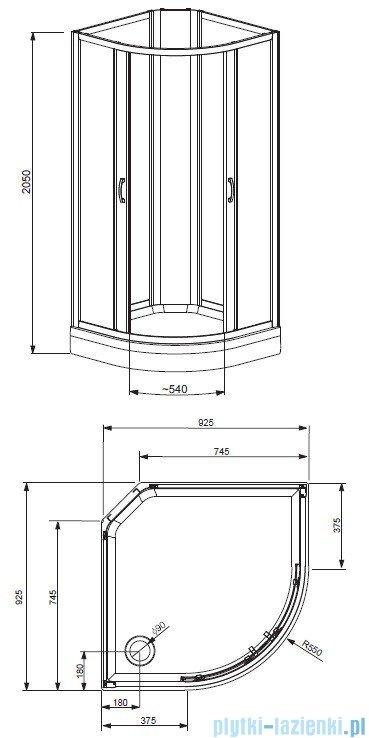 Radaway Quattra Kabina półokrągła 925x925 szkło grafitowe + brodzik + panel 33003-01-05N,33103-01-05N