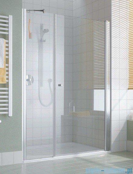 Kermi Atea Drzwi wahadłowe jednoskrzydłowe i pole stałe, lewe, szkło przezroczyste, profile srebrne 160cm AT1OL16018VAK