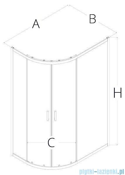 New Trendy Adora 100x80x190 cm kabina asymetryczna grafit K-0284