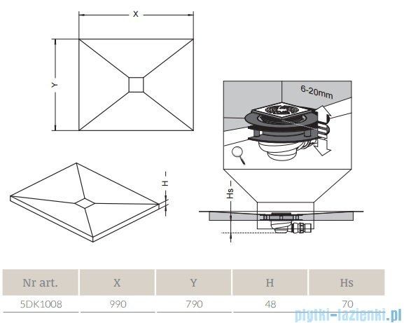 Radaway prostokątny brodzik podpłytkowy z kratką odpływową 99x79cm 5DK1008,5K01,5SK1