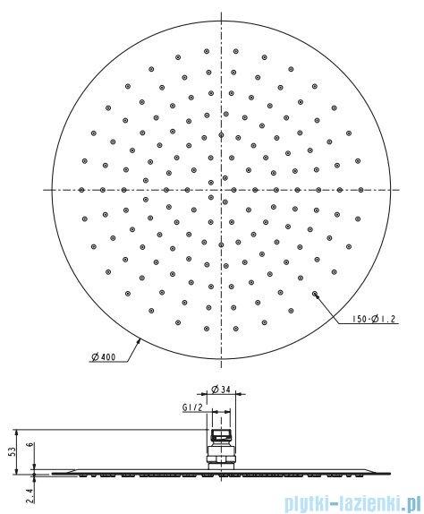 Omnires Ultra Slimline deszczownica ze stali nierdzewnej ø 40cm chrom WGU140