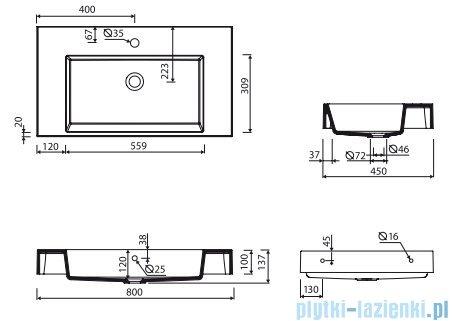 Marmorin Teo 800 umywalka wisząca 80x45 z otworem przelewowym i z otworem na baterie biała 641080020211