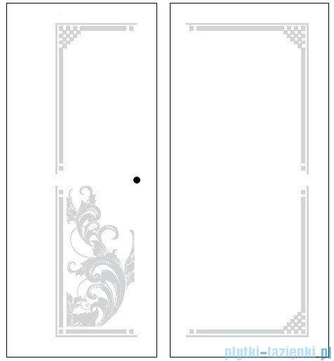 Kerasan Retro Kabina prostokątna prawa szkło dekoracyjne przejrzyste profile złote 80x96 9144N1