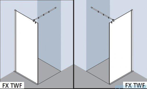 Kermi Filia Xp Ściana Walk-in Wall, stabilizator 90 stopni, szkło przezroczyste, profile srebrne 100x200cm FXTWF10020VAK