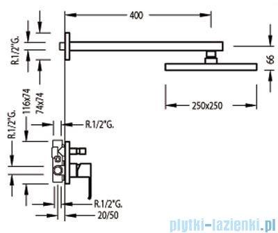 Tres Cuadro-Tres Zestaw natryskowy z baterią podtynkową 1.06.980