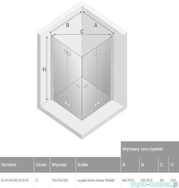 New Trendy New Soleo 70x70x195 cm kabina kwadratowa przejrzyste D-0147A/D-0151A