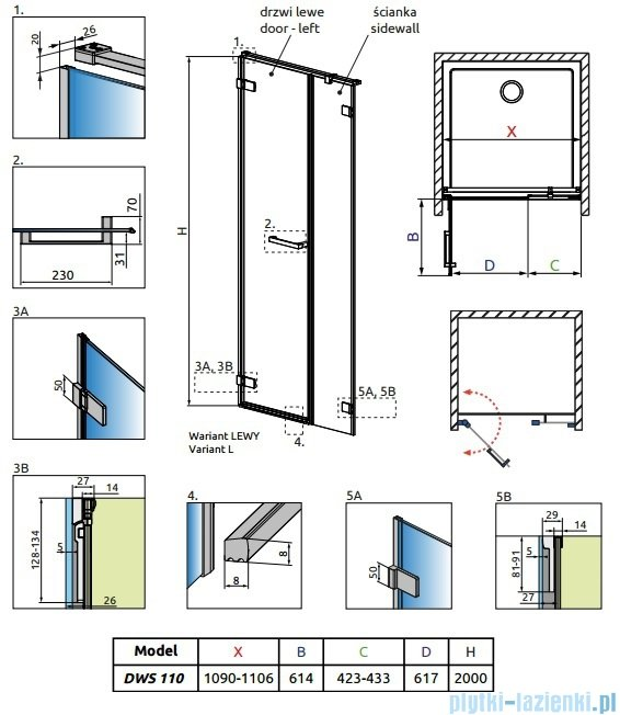 Radaway Arta Dws drzwi wnękowe 110cm lewe szkło przejrzyste 386628-03-01L/386092-03-01L