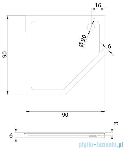New Trendy New Azura brodzik pięciokątny 90x90x6 cm B-0365