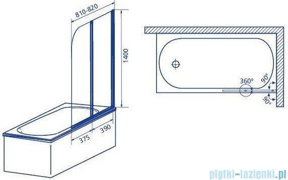 Aquaform Modern 2 parawan nawannowy prawy 81x140cm szkło satinato profil chrom 06978